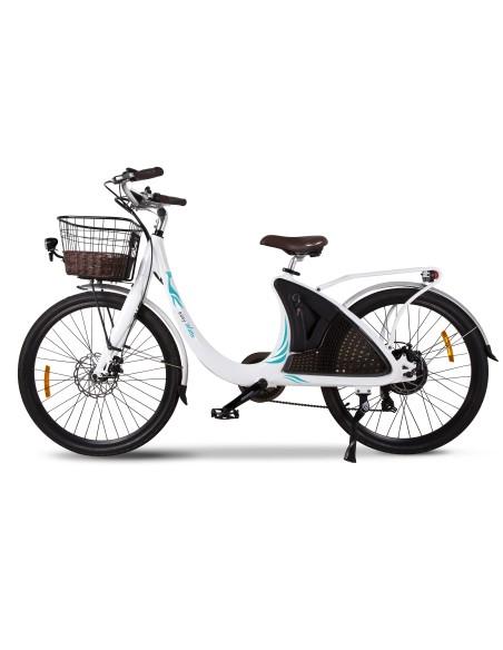 vélo électrique femme e-wave blanc avec panier et porte bagage