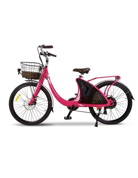 vélo électrique rose e-wave