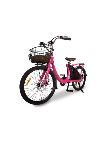 vélo électrique rose féminin avec panier