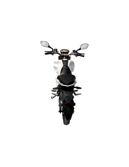 moto électrique e-roadster blanche vue de dos