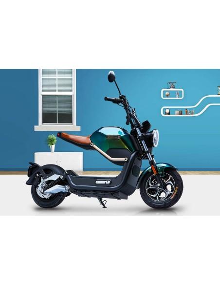 moto électrique e-miku max vert 50 cc siège cuir marron