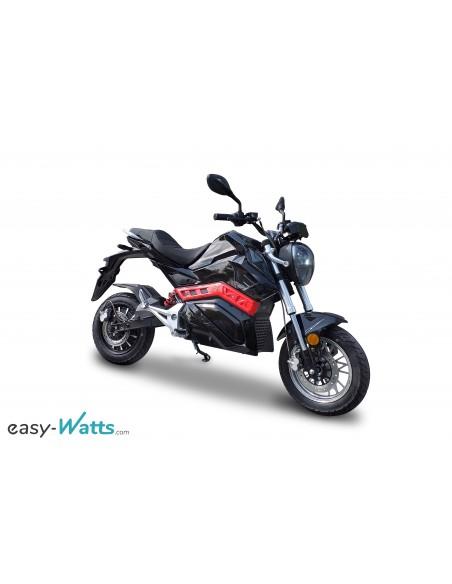 moto électrique Roadster noir et rouge équivalent 50 cc 45 km h dispo dès 14 ans