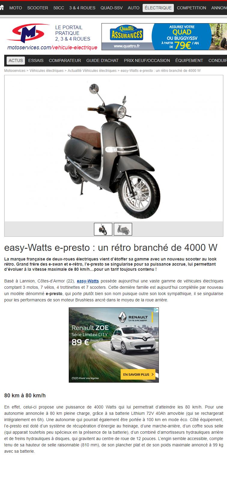 Scooter Electrique 125 E Presto Easy Watts
